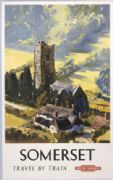 British Railways Travel Art Poster Print, Travel By Train to Somerset